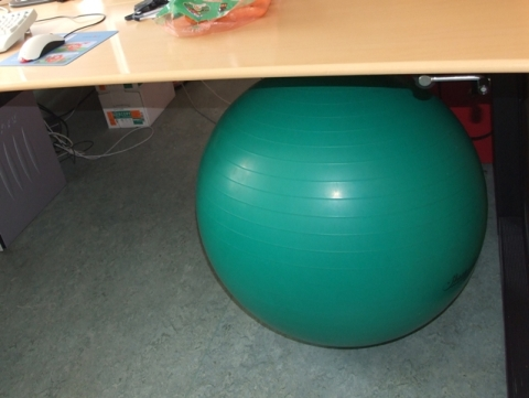 repetitive strain injury solution #5 - doctor who detected my RSI problem in the upper back (showing a cramped neck) . Try a funny sitting ball