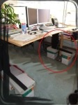 (D) standing computer desk ergonimic