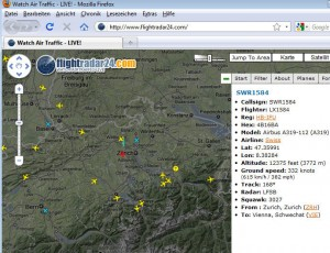 flightradar air traffic 300x230 Air Traffic Mashup: Flightradar24   seeing real time air travel