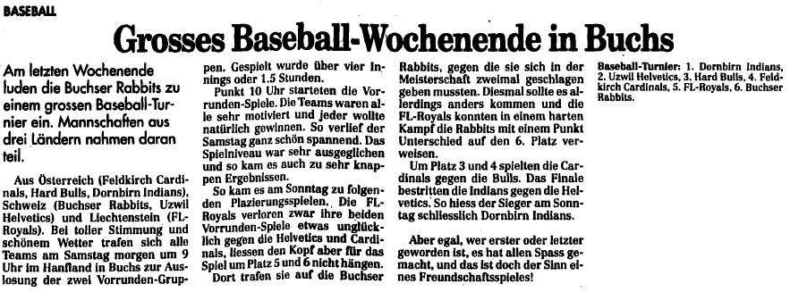 Baseball: Liechtenstein/Buchs SG: FL Royals bei den Rabbits Buchs (4. Oktober 1994) - Quelle: www.vaterland.li (Medienhaus Liechtenstein)