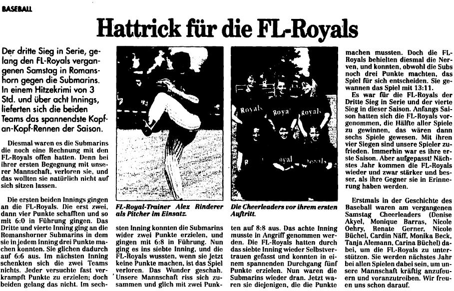 FL Royals gegen Romanshorn Submarines (19. Juli 1994) - Quelle: www.vaterland.li (Medienhaus Liechtenstein)