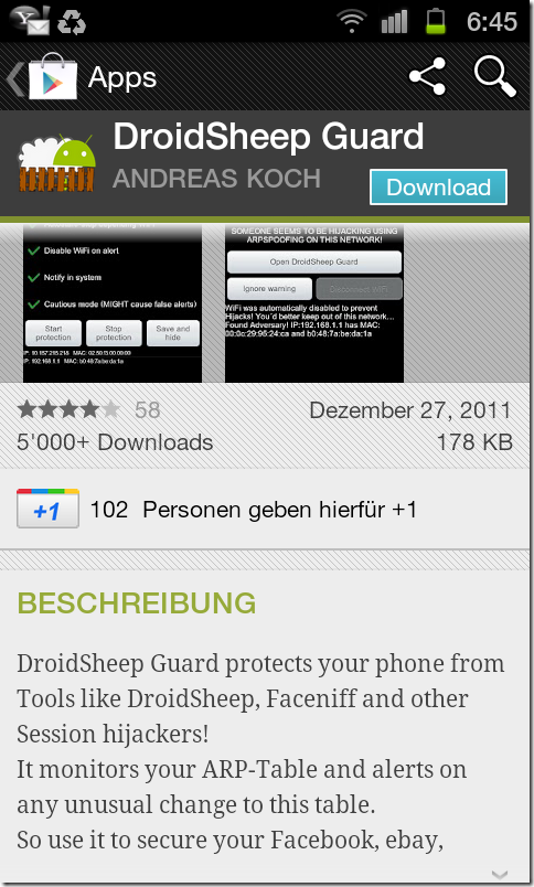 Save-DroidSheepGuard  (against smartphone session hijacking apps)