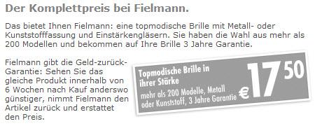 Fielmann Preise: Beispiel Komplettbrille EUR 19
