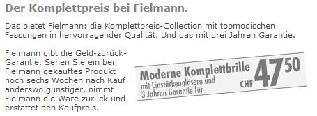 Fielmann Preise: Beispiel Komplettbrille CHF 47