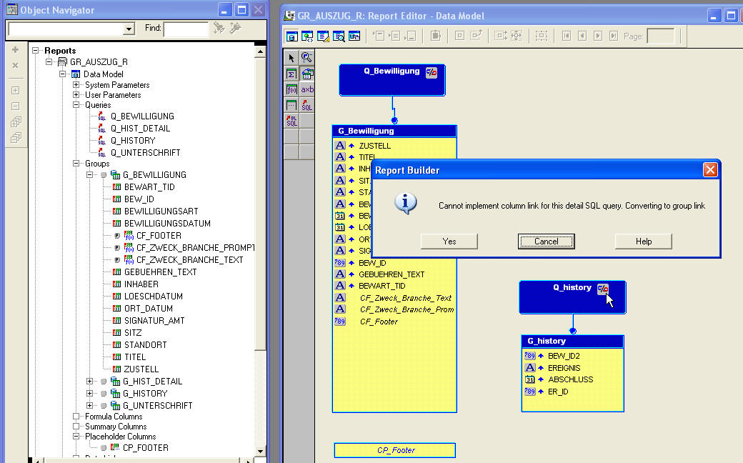 Oracle Reports Query not linkable: REP-20147 error (group link